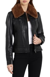 Badgley Mischka Leather Aviator Jacket With Genuine Shearling Black