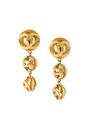 Chanel Vintage Logo Orb Drop Clip On Earrings Metallic