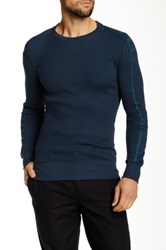Helmut Lang Taped Crew Neck Luxe Waffle Sweater Gray