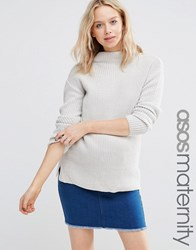 Asos Maternity Ultimate Chunky Jumper With High Neck Pale Grey