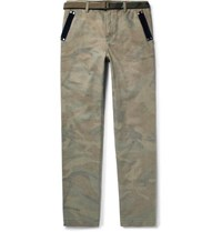 Sacai Slim Fit Velvet Trimmed Camouflage Print Brushed Cotton Trousers Army Green