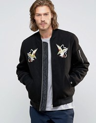 Asos Souvenir Jacket In Soft Handle With Eagle Embroidery In Black Black