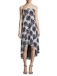 Lucca Couture Delilah Palm Print Strapless Hi Lo Dress Multi