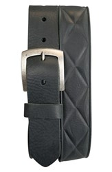 James Campbell Men's Big And Tall Embossed Leather Belt Black