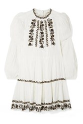 Ulla Johnson Ceres Sequined Embroidered Crinkled Cotton Voile Mini Dress White