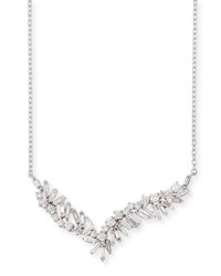 Suzanne Kalan Baguette And Round Diamond Pendant Necklace In 18K White Gold
