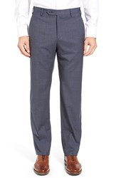 Zanella Men's Flat Front Check Wool Trousers Medium Blue