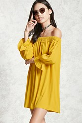 Forever 21 Off The Shoulder Swing Dress Yellow