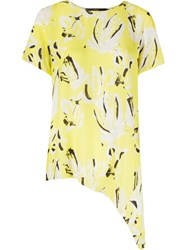 Andrea Marques Abstract Print Asymmetric Shirt Yellow And Orange