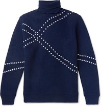 Raf Simons Embroidered Virgin Wool Rollneck Sweater Navy