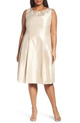 Tahari Plus Size Women's Tea Length Embellished Shantung Cocktail Dress Champagne