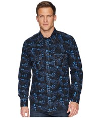 Rock And Roll Cowboy Long Sleeve Snap Print B2s6021 Blue Clothing