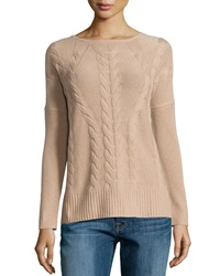 Neiman Marcus Cashmere Cable Knit Long Sleeve Tunic Camel