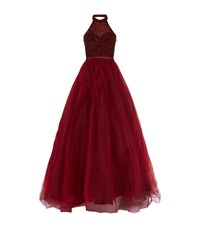 Jovani Crystal Halter Neck Evening Gown Female Red