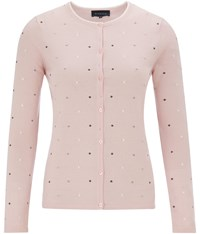 Viyella Pure Merino Spot Embroidered Cardigan Pale Pink