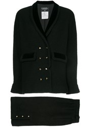 Chanel Vintage Narrow Double Breasted Skirt Suit Black