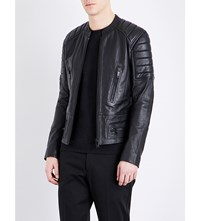 Sandro Stand Collar Leather Jacket Black