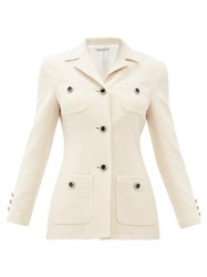 Alessandra Rich Chain Button Tailored Wool Blend Jacket Ivory