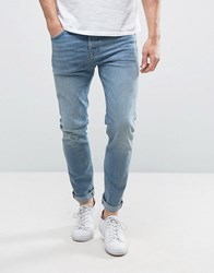 Selected Homme Jeans In Skinny Fit Stretch Denim Blue