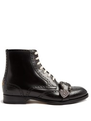 Gucci Queercore Leather Brogue Boots Black