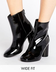 New Look Wide Fit Patent Pu High Ankle Heeled Boot Black