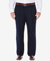 Haggar Cool 18 Microfiber Big And Tall Classic Fit Pleated Dress Pants Navy