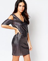Liquorish Cold Shoulder Pleated Dress In Gunmetal Gun Metal Silver