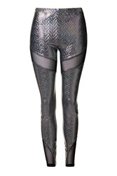 Sport Holographic Mesh Leggings By Jaded London Silver