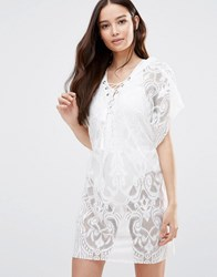 Liquorish Crochet Beach Cover Up With Lace Up Front White