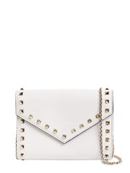 Valentino Rockstud Smooth Leather Chain Wallet White
