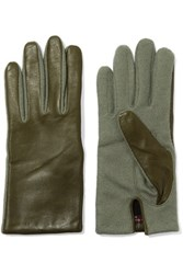 Agnelle Wool Blend And Leather Gloves Army Green