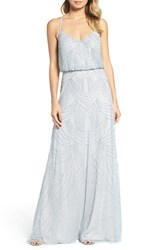 Adrianna Papell Women's Beaded Chiffon Blouson Gown