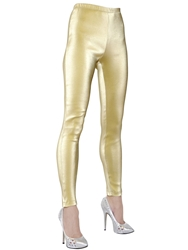 Jean Paul Gaultier Cotton Stretch Lame Twill Leggings Gold