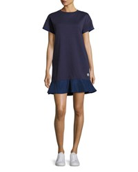 Moncler Short Sleeve Cotton Jersey Shift Dress Navy