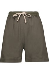 Rick Owens Crepe Shorts Army Green
