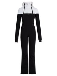 Fendi Fur Trimmed Ski Suit Black White