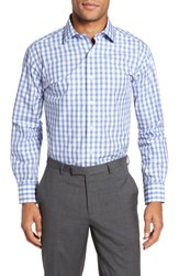 Lorenzo Uomo 'S Big And Tall Trim Fit Check Dress Shirt Light Blue