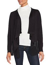 August Silk Solid Open Front Cardigan Black
