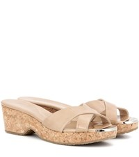 Jimmy Choo Panna Patent Leather Mules Neutrals