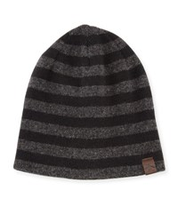 Penguin Ashmore Striped Knit Beanie Hat Black