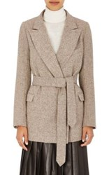 Co Women's Wool Herringbone Belted Jacket Brown