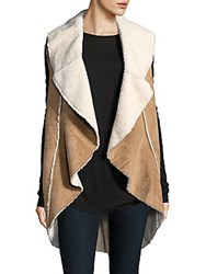 Saks Fifth Avenue Sleeveless Faux Fur Vest Grey