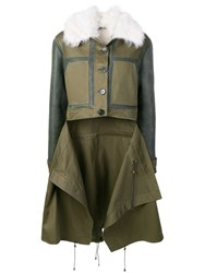 Monse Patchwork Shearling Coat Green