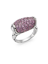 John Hardy Kali Pink Sapphire And Sterling Silver Ring Silver Pink