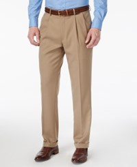 Louis Raphael Men's Straight Fit Double Pleated Dress Pants Tan