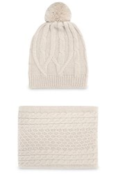 Chinti And Parker Cable Knit Merino Wool Scarf Beanie Set Beige