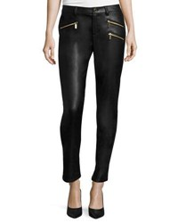 Michael Michael Kors Faux Leather Zip Skinny Jeans Black