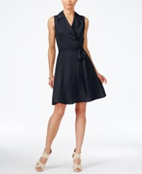 Armani Exchange Sleeveless Notched Collar Shirtdress Navy