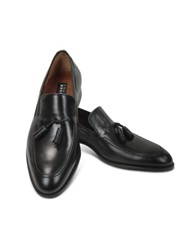 Fratelli Rossetti Black Calf Leather Tassel Loafer Shoes