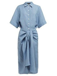 Joseph Coopers Tie Waist Linen Blend Dress Blue